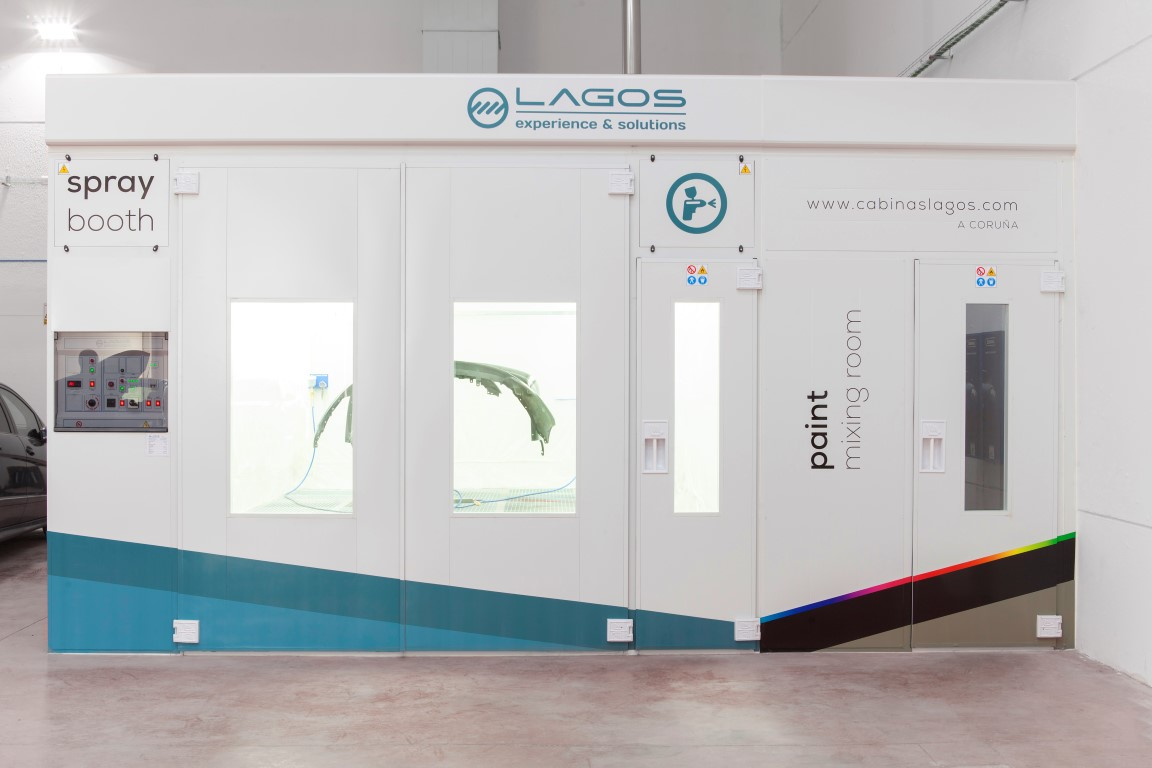 Euro 3.0 spray booth with lateral paint box