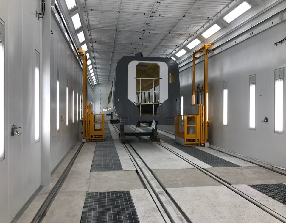 paint booth for the railway sector